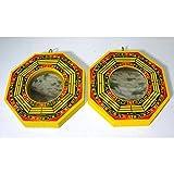 2 BaGua Spiegel konvex und konkav ca. 10,5cm Holz Feng Shui traditionelles Schutzschild China