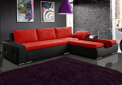 MAX black and red faux leather and fabric large corner sofa bed couch with storage sleeping area living room furniture couches - cheap UK light shop.