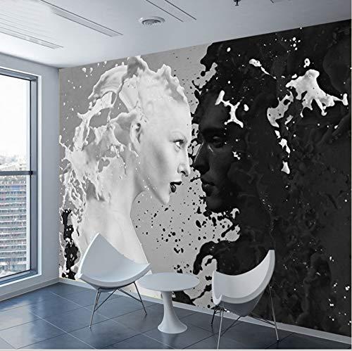 Wallpaper schwarz weiß milch liebhaber für wand 3 d wohnzimmer schlafzimmer shop bar cafe wände wandbilder-(W)200x(H)140cm Silk Cloth