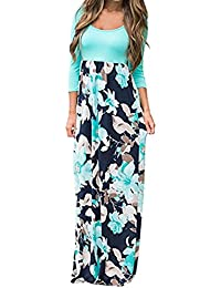 Italily Donna Floreale Vestito Boho Maxi Dress Stampare Manicotto A Tre  Quarti Vestito Casuale Tunica Lungo 52dc7b1f6e4