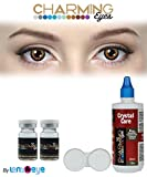 #4: Charming Eyes Zeropower Hazel Color Yearly Contact Lens with Free Lens Care Kit (2 Lens Pack) By Lens4Eye