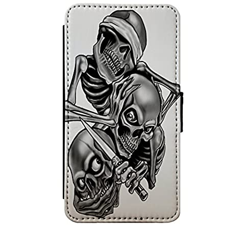 See no Evil - Hear no Evil - Speak no Evil Skulls Goth Leather Flip Phone Case Cover - Wallet - For iPhone & Samsung's (Samsung Galaxy