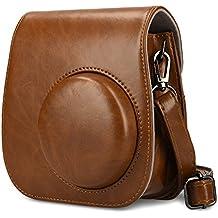 Bolso para FujiFilm Instax Mini 8 / Mini 9 cámara instantánea funda de cámara - kwmobile bolsa de cuero sintético para cámara instantánea - bolso con correa de hombro en marrón