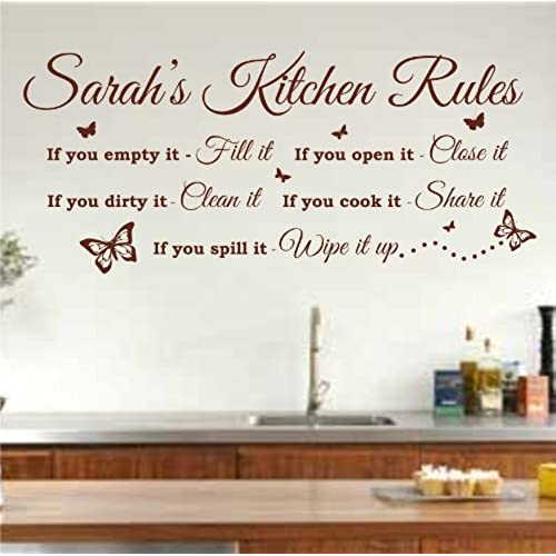 Exceptionnel Personalised Kitchen Rules Quote Wall Art Sticker 120cm (w) X 52cm (h) K26,  Please State Colour On Purchase Otherwise Brown Will Be Sent