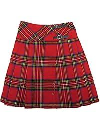 "Tartanista - Kilt/falda escocesa cruzada larga - 58 cm (23"") - Royal Stewart - Rojo - EU38 UK10"