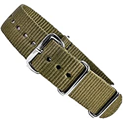 Outdor Replacement Band Watch Band Textile Strap drawstring Olive with stainless steel loop 25548S, width:24mm