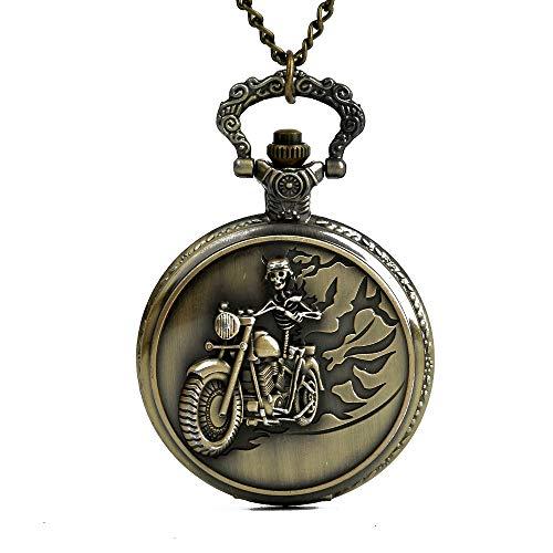 YYWDLSHB Alte antike Bronze-Schädel-Reitmotorrad-Ketten-Taschenuhr für Großvater und Vati als die größten Geschenke -