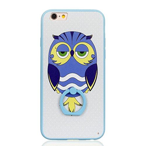 Voguecase Für Apple iPhone 7 4.7 hülle, Schutzhülle / Case / Cover / Hülle / TPU Gel Skin mit Ring Schnalle (Blau-Seelöwen) + Gratis Universal Eingabestift Blau-Sleepy Owl