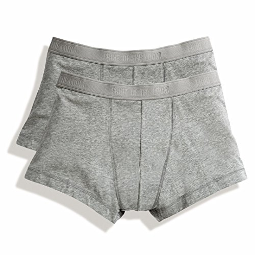 Fruit of the Loom Men's Classic Shorty Boxer Shorts Light Grey Marl L (2 Pack)