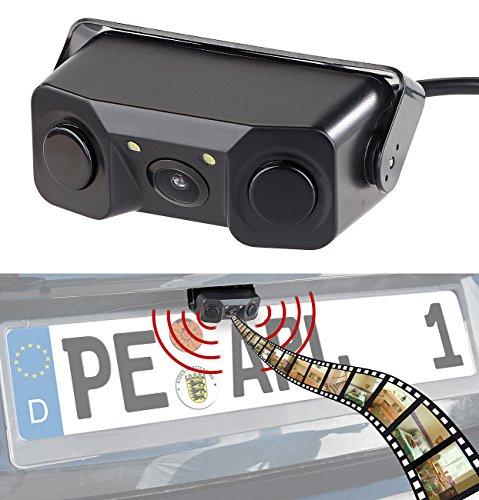 Lescars Rückfahrtkamera: Farb-Rückfahrkamera & Einparkhilfe m. Abstandswarner, LED-Ausleuchtung (Rückfahrsensoren)
