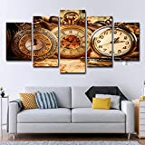 ZEMER 5 Panel Leinwanddrucke Wandkunst-Brown-Weinlese-taschenuhr, Die Auf Alten Karten-Grafik-Bild-gemälden Liegt Für Hauptwanddekor,A,20x30x2+20x40x2+20x50x1