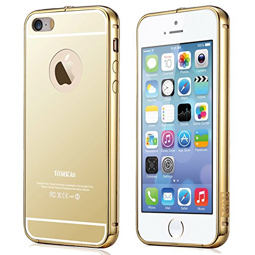 K/B COMBO Luxury Mirror Effect Acrylic back + Metal Bumper Case Cover for Apple Iphone 5/5s/Se - GOLD (FREE TEMPERED GLASS SCREEN PROTECTOR)  available at amazon for Rs.265