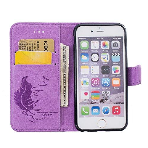 iPhone 6 Plus / 6S Plus Hülle,iPhone 6 Plus / 6S Plus Ledertasche Brieftasche im BookStyle,Cozy Hut Handyhülle iPhone 6 Plus / 6S Plus [Flügel] Muster PU Leder Tasche Schutzhülle Folio Magnetverschlus lila