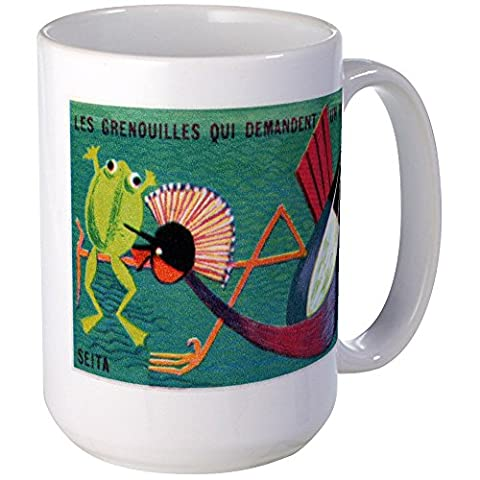 CafePress - The Frogs Who Desired A King Matchbox Label Mug - Coffee Mug, Large 15 oz. White Coffee