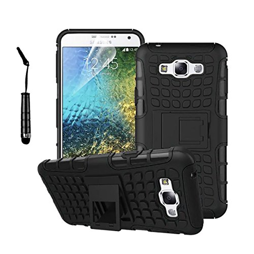 Samsung Galaxy E7 - Stylish Heavy Duty Hard Back Armor Shock Proof Case Cover with Back Stand Feature & Free Screen Protector by Accessories Collection