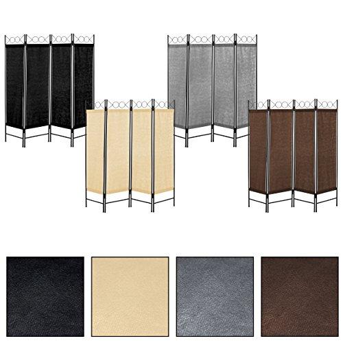 Estexo® vierteiliger Paravent, Raumteiler, Trennwand, spanische Wand, Sichtschutz, Raumtrenner (Grau)