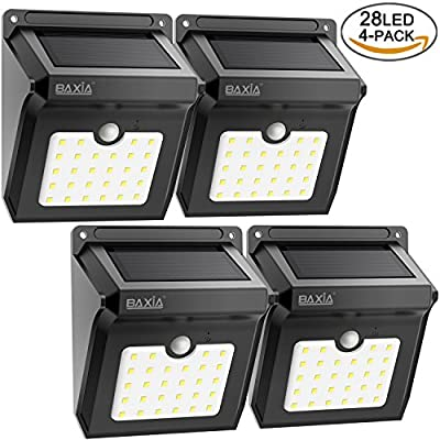 BAXiA Bright 28 LED Wireless Outdoor Waterproof Solar Powered Motion Sensor Security Wall Lights for Door, Driveway, Garden, Patio, Yard(4 Packs) - inexpensive UK light store.