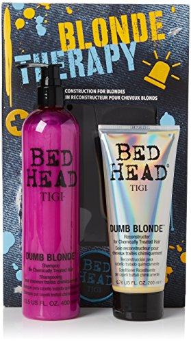 Tigi Limited Edition Dumb Blonde Shampoo & Reconstructor intensive Tiefenpflege für blondes und aufgehelltes Haar Geschenkset-Vorteilspack (400 ml+200 ml) (Intensive Reconstructor)