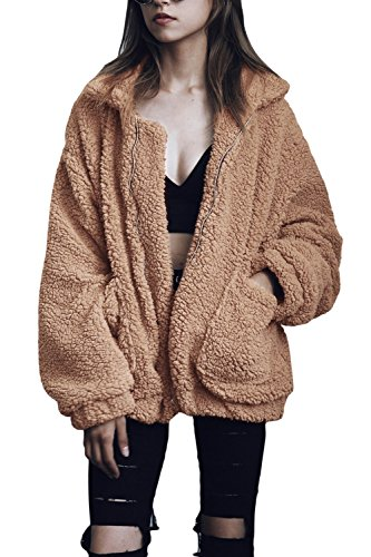 YACUN Damen Mäntel Winterjacke Faux Lammwolle Fluffy Jacke Fuzzy Mantel Langarm Outwear Kurz Coat Khaki S -