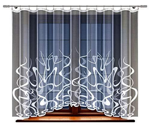 HAFT® Gardine; Store; Vorhang transparent, elegant weiß, Kräuselband (160 x 400 cm)