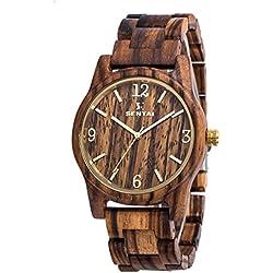 Mens Wood Watch Coolest Zebrawood Wooden Wrist Watches Analog Miyota Quartz Watches