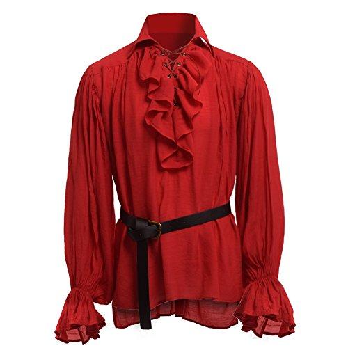Kostüm Shirt Leinen - GRACEART Herren Mittelalterliche Nordic Shirts mit Gürtel (Rot, Medium)