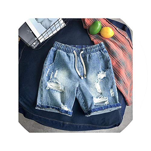 Men's Cotton Elastic Waist Denim Shorts Summer Large Size Shorts Men's Loose Casual Denim Shorts Size M 5XL,Blue,XL -