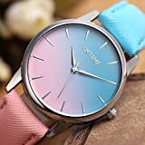 JSDDE Uhren,Fashion Cute Candy Farbe Damen Armbanduhr Blau-Pink Farbverlauf Kleid Uhr PU Lederband Analog Quarz Uhr -