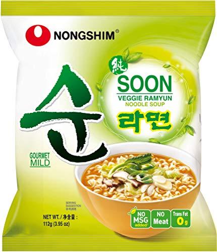 Nong Shim Instantnudeln Soon Veggie Ramyun - Koreanische Gemüse Ramen Suppe mild - schnelle Zubereitung - 20er Vorteilspack à 112g