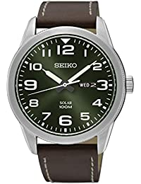 Seiko Mens Analogue Solar Powered Watch with Leather Strap SNE473P1