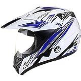 Casco protector con doble visera MX - Para motocross / todoterreno / enduro / MX / cicloturismo - Azul - M (57-58 cm)