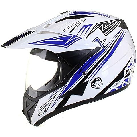 Casco protector con doble visera MX - Para motocross / todoterreno / enduro / MX / cicloturismo - Azul - L (59-60