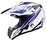 Qtech - Motocross-Helm mit Visier - für Offroad/Enduro/Touring Sport - Blau - L (59-60 cm)