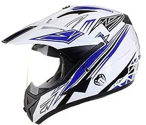 Qtech - Casque de moto/enduro/MX tout-terrain - idéal pour la route - Bleu - M (57-58 cm)