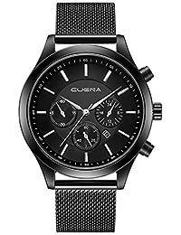 soundsbeauty Herren Uhren CLASSIC STEEL BAND Quartz Analog Armbanduhr mit wasserdicht Datum Ultrathin Case Schutzhülle Kleid Armbanduhr für Mann