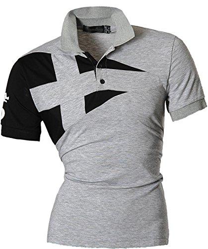 6e1435d451b jeansian Herren Freizeit Slim Fit Short Sleeves Casual POLO T-Shirts D403
