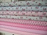 Lottashaus 8x Stoff no10 Pink Rosen Rosa Romantisch