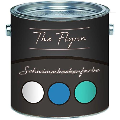 The Flynn Schwimmbeckenfarbe auserlesene Poolfarbe in Blau Weiß Grün Schwimmbad-Beschichtung Betonfarbe Teichfarbe (2,5 L, Blau)