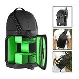 Followsun SLR DSLR Schlinge Kameratasche Rucksack, Reisetasche mit Wasserdichte Regen Abdeckung für Nikon Canon Sony DSLR Kameras und Objektiv, Stativ, Andere Zubehör -40cm x 21cm x 14cm (Grün Innere)