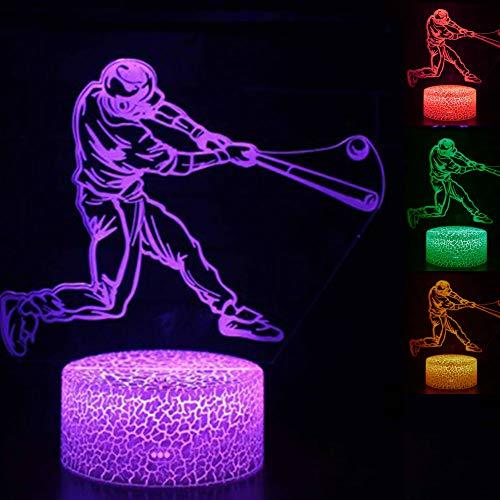 Jinson well 3D Baseball Lampe led Illusion Nachtlicht, 7 Farbwechsel Touch Switch Tisch Schreibtisch Dekoration Lampen perfekte Weihnachtsgeschenk mit Acryl ABS Base USB Kabel Spielzeug