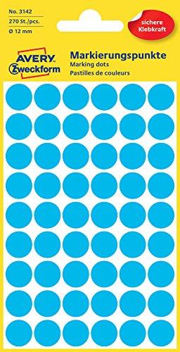Avery Round Labels, Blue Ø 12 - Etiqueta autoadhesiva (Blue Ø 12)