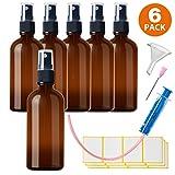 6x100ml Sprühflasche Klein Glasflasche mit Zerstäuber - Apothekerglas spruehflasche aus Braunglas Set Inklusive 16 Hilfszubehör