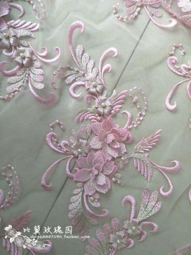 ce Spitze Aufnäher Motiv Nähen Brautschmuck Hochzeit 40cm * 20cm (Baby Pink) ()
