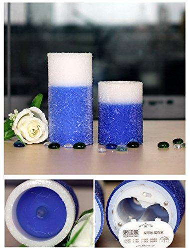 Luz LED de parafina LIWUYOU velas sin llama electrónica batería de la necesidad con temporizador automático Color azul marino, azul, large