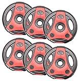 Bad Company K-Grip Hantelscheiben mit Griffen I Kunststoff ummantelte Gewichte 30/31 mm I 15 Kg (6 x...