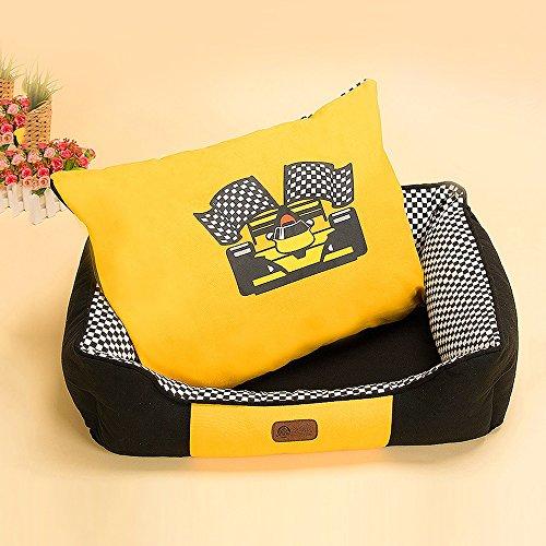 Yxiny casette per cani cuccia per cani in carbone di bambù canile letto per cani nido di gatto prodotti per animali sacco a pelo rimovibile e lavabile (colore : giallo)
