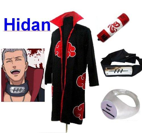 Naruto Akatsuki Hidan Cosplay Kostüm Set (Akatsuki Cloak,Größe:L: Höhe 169cm-176cm + Hidan Stirnband + Hidan Ring + Naruto - Kostüm De L'akatsuki