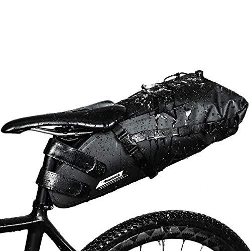 Selighting Impermeable Bicicleta Alforja Asiento Trasero Carrier Bolsas de Sillín Alforjas de Ciclismo (Negro, 10L)