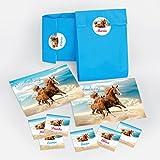 12 Einladungskarten zum Kindergeburtstag Pferde incl. 12 Umschläge und 12 Party-Tüten mit 12 Aufkleber / Geburtstag / Fohlen / zwei Pferde / schöne und bunte Einladungen für Mädchen (12 Karten + 12 Umschläge + 12 Party-Tüten + 12 Aufkleber)
