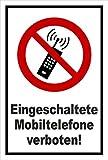Aufkleber - Eingeschaltete Mobiltelefone verboten - Handy - entspr. DIN ISO 7010 / ASR A1.3 – 15x10cm – S00355-031-A +++ in 20 Varianten erhältlich